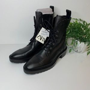 Zara NWT leather combat boots with studs